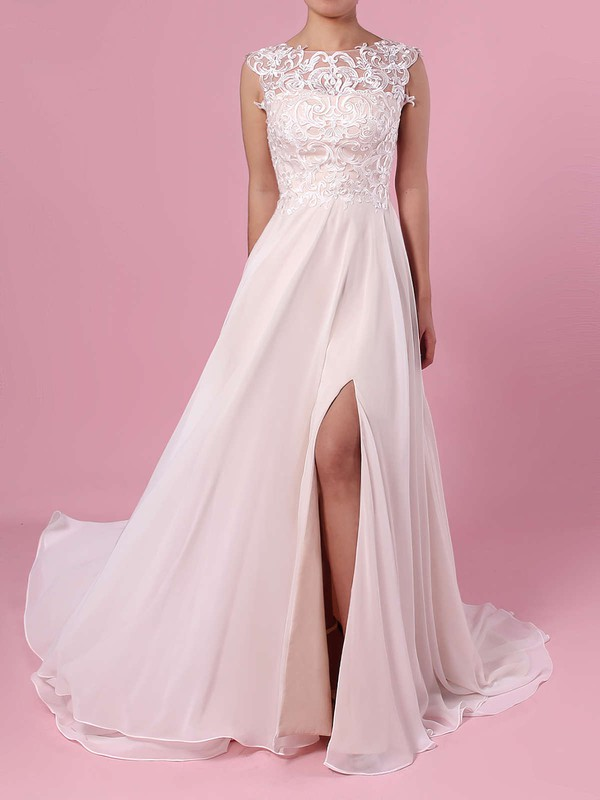 A-line Scoop Neck Chiffon Tulle Sweep Train Split Front Wedding Dresses #LDB00023392