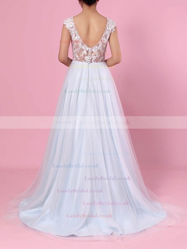 A-line V-neck Tulle Sweep Train Appliques Lace Wedding Dresses #LDB00023394