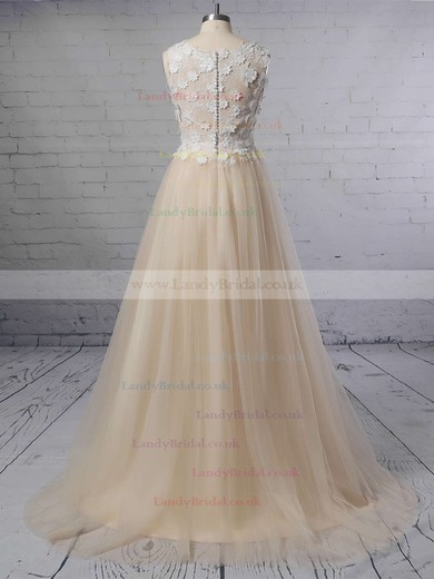 A-line Scoop Neck Lace Tulle Sweep Train Appliques Lace Wedding Dresses #LDB00023395