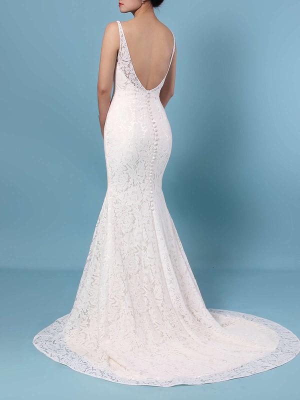 Trumpet/Mermaid V-neck Lace Sweep Train Wedding Dresses #LDB00023398