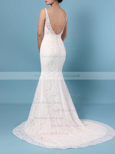Trumpet/Mermaid V-neck Lace Sweep Train Wedding Dresses #LDB00023398