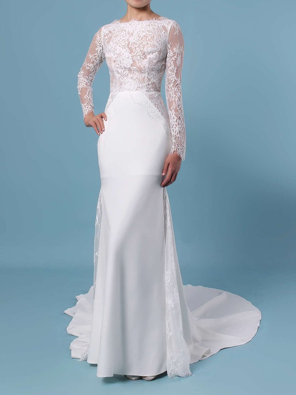 Trumpet/Mermaid Scalloped Neck Lace Silk-like Satin Sweep Train Appliques Lace Wedding Dresses #LDB00023401