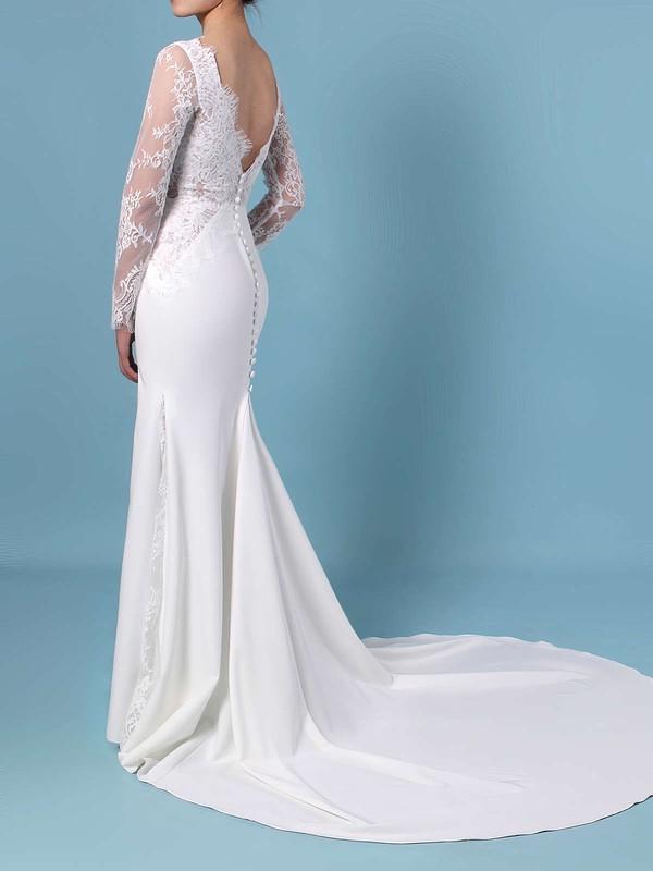 Trumpet/Mermaid Scalloped Neck Lace Silk-like Satin Sweep Train Appliques Lace Wedding Dresses #LDB00023401