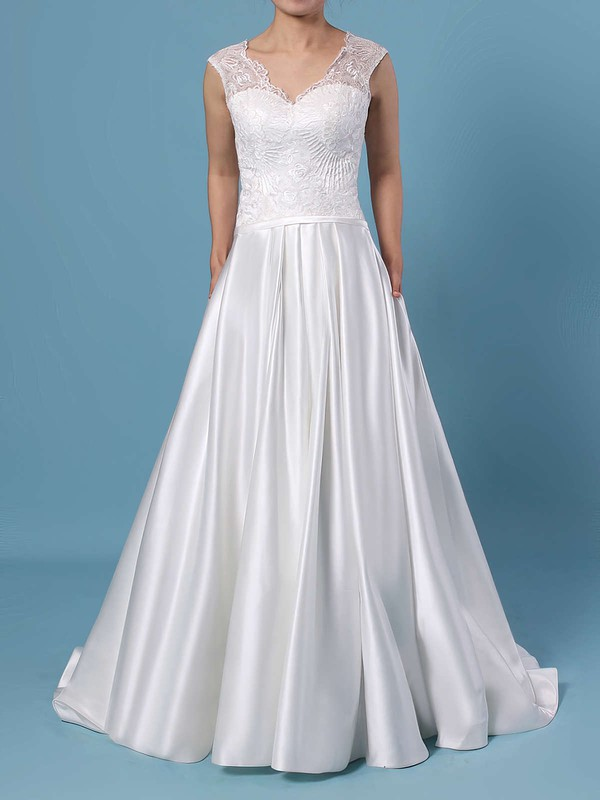 Ball Gown V-neck Lace Satin Sweep Train Pockets Wedding Dresses #LDB00023403