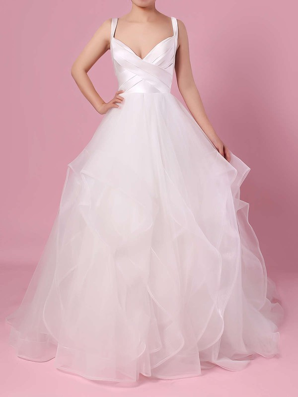 Ball Gown V-neck Organza Tulle Floor-length Cascading Ruffles Wedding Dresses #LDB00023407