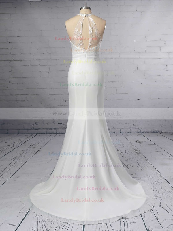 Trumpet/Mermaid Scoop Neck Chiffon Tulle Sweep Train Embroidered Wedding Dresses #LDB00023408