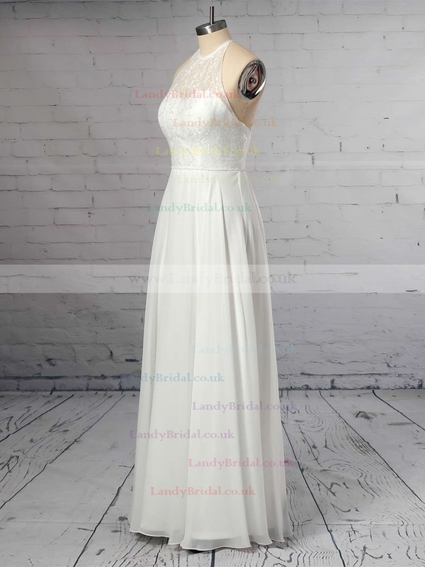 A-line Scoop Neck Chiffon Floor-length Lace Wedding Dresses #LDB00023409