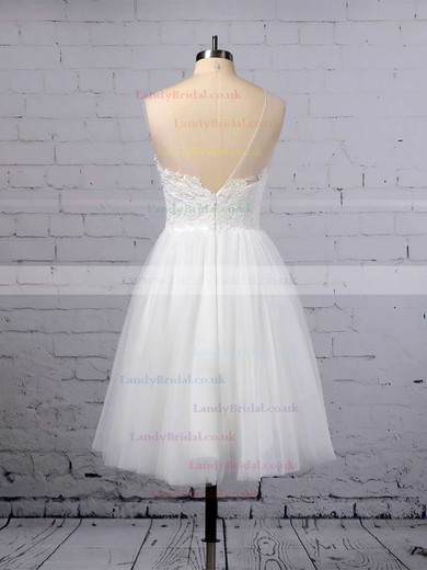 A-line Scoop Neck Tulle Knee-length Appliques Lace Wedding Dresses #LDB00023419