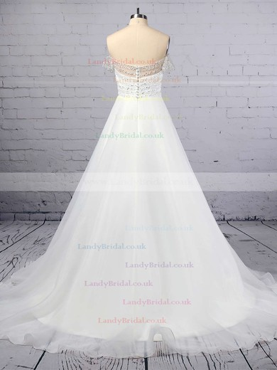 Princess Off-the-shoulder Organza Tulle Sweep Train Sequins Wedding Dresses #LDB00023423