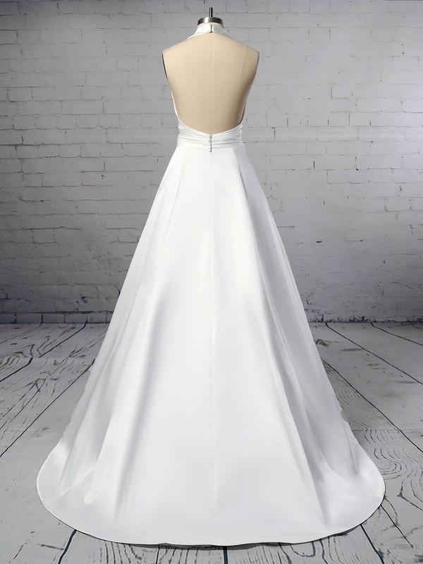 Ball Gown Halter Satin Sweep Train Ruffles Wedding Dresses #LDB00023424