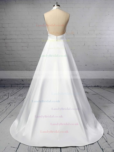 Ball Gown Halter Satin Sweep Train Ruffles Wedding Dresses #LDB00023424