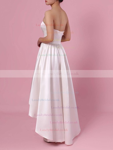 Princess Strapless Satin Asymmetrical Pockets Wedding Dresses #LDB00023426