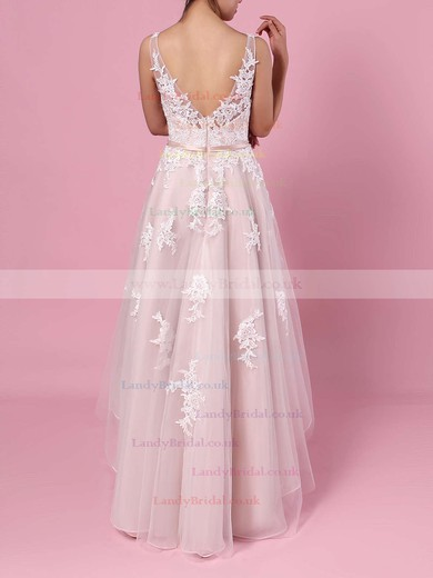 A-line V-neck Tulle Asymmetrical Appliques Lace Wedding Dresses #LDB00023427