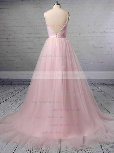 A-line V-neck Tulle Sweep Train Sashes / Ribbons Wedding Dresses #LDB00023430
