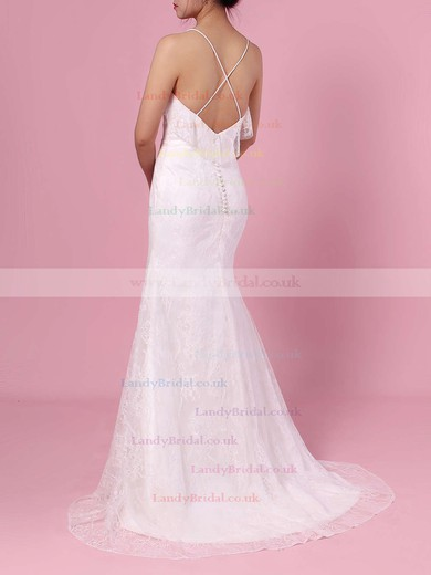 Sheath/Column V-neck Lace Sweep Train Wedding Dresses #LDB00023439