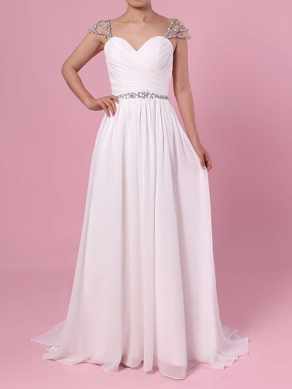 A-line V-neck Chiffon Sweep Train Beading Wedding Dresses #LDB00023441