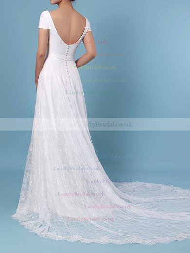 A-line Scoop Neck Lace Sweep Train Sashes / Ribbons Wedding Dresses #LDB00023448