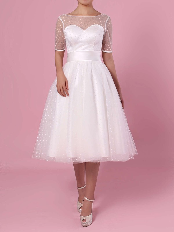 Princess Scoop Neck Tulle Tea-length Bow Wedding Dresses #LDB00023451