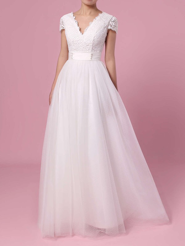 A-line V-neck Lace Tulle Sweep Train Sashes / Ribbons Wedding Dresses #LDB00023453