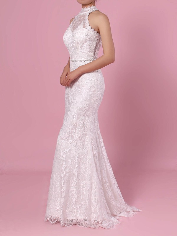 Sheath/Column High Neck Lace Floor-length Lace Wedding Dresses #LDB00023454