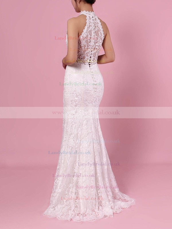 Sheath/Column High Neck Lace Floor-length Lace Wedding Dresses #LDB00023454