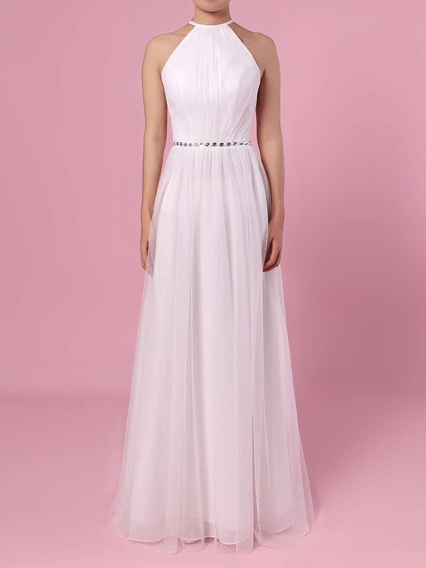A-line Scoop Neck Tulle Floor-length Wedding Dresses #LDB00023455