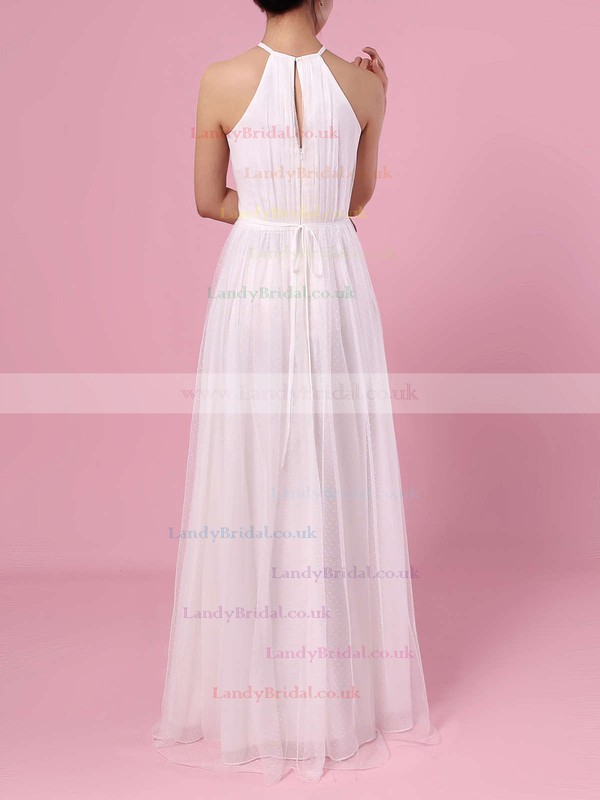 A-line Scoop Neck Tulle Floor-length Wedding Dresses #LDB00023455