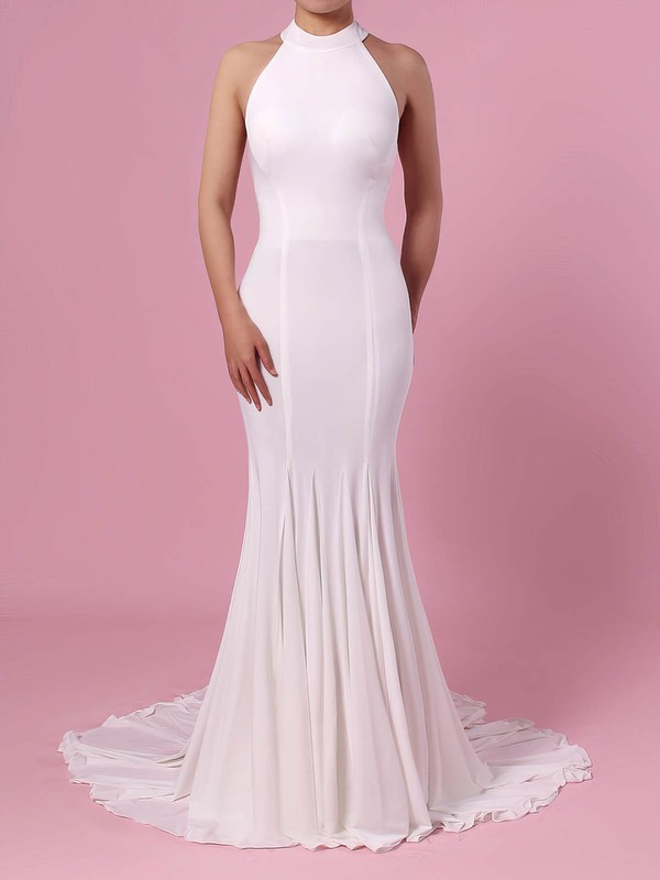 Trumpet/Mermaid Halter Satin Sweep Train Wedding Dresses #LDB00023460