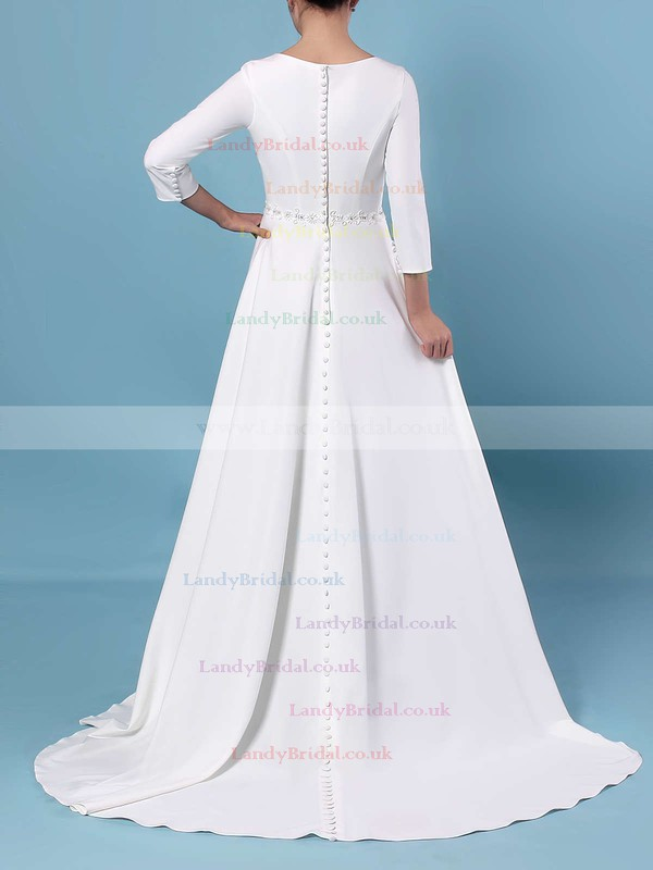 A-line Scoop Neck Satin Sweep Train Sashes / Ribbons Wedding Dresses #LDB00023461