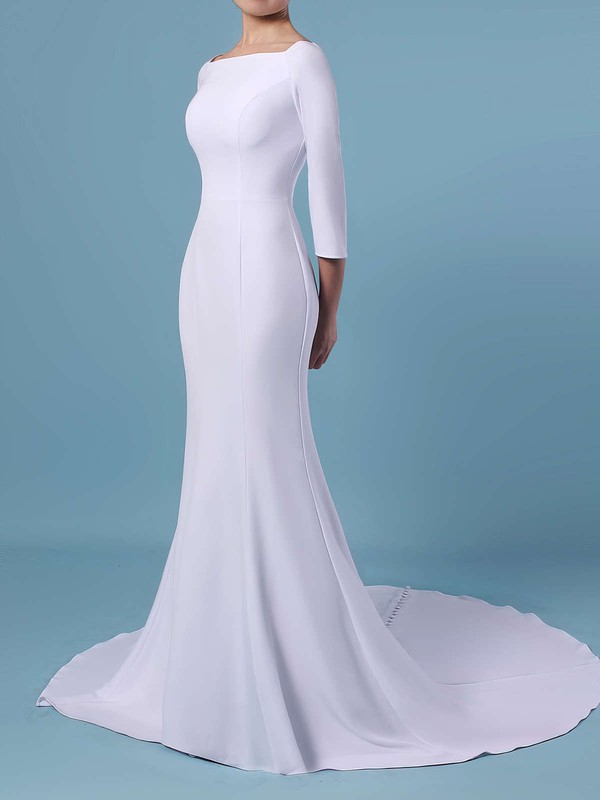 Trumpet/Mermaid Square Neckline Satin Sweep Train Wedding Dresses #LDB00023462