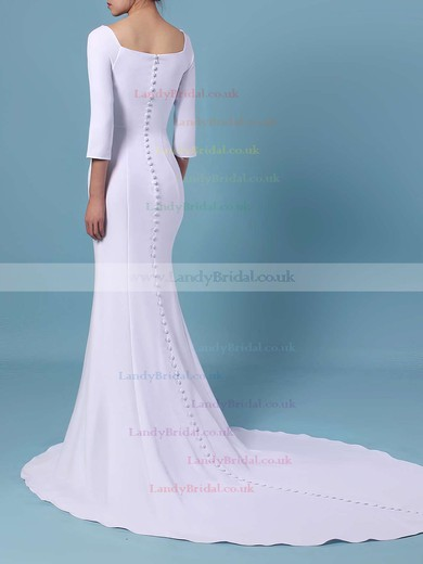Trumpet/Mermaid Square Neckline Satin Sweep Train Wedding Dresses #LDB00023462