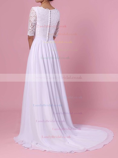 A-line Scoop Neck Lace Chiffon Sweep Train Sashes / Ribbons Wedding Dresses #LDB00023464