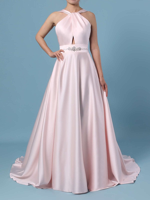Ball Gown Halter Satin Sweep Train Beading Wedding Dresses #LDB00023465
