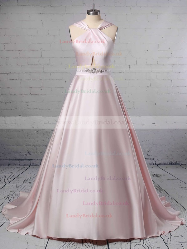 Ball Gown Halter Satin Sweep Train Beading Wedding Dresses #LDB00023465