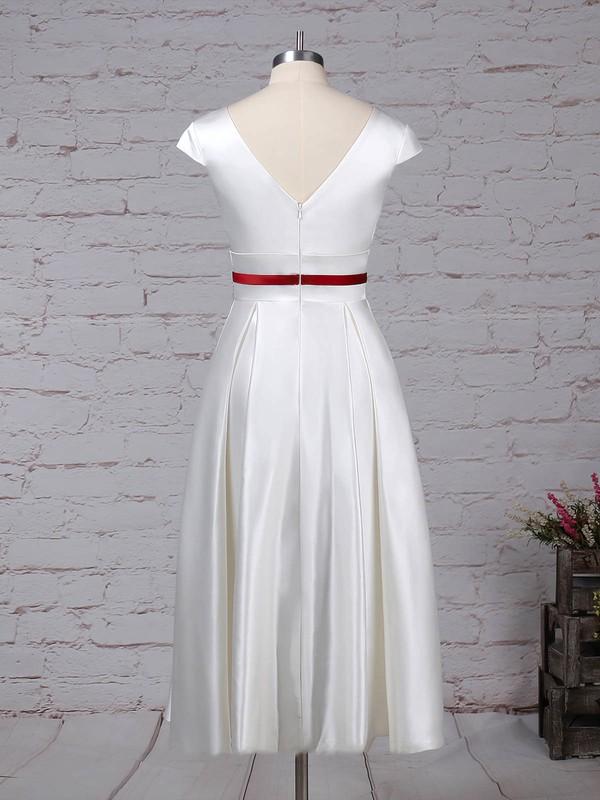 Satin V-neck Princess Tea-length Sashes / Ribbons Wedding Dresses #LDB00023271