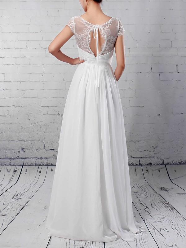Lace Chiffon V-neck A-line Floor-length Ruffles Wedding Dresses #LDB00023283
