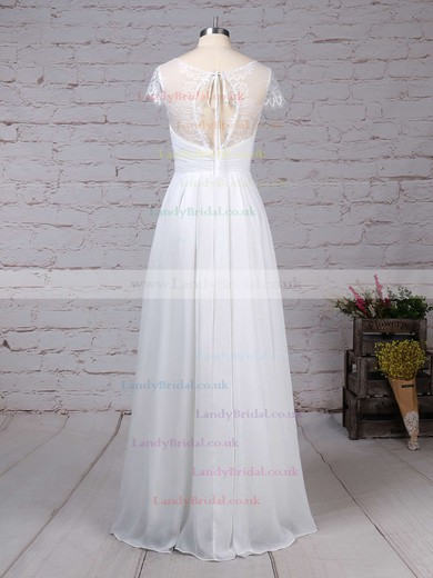 Lace Chiffon V-neck A-line Floor-length Ruffles Wedding Dresses #LDB00023283