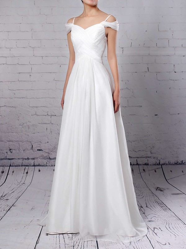 Chiffon V-neck Empire Sweep Train Ruched Wedding Dresses #LDB00023198