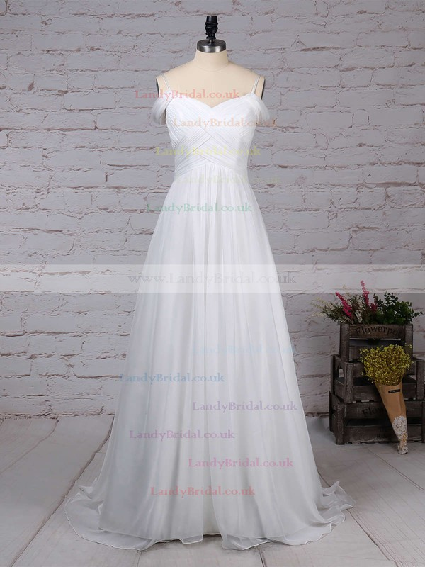 Chiffon V-neck Empire Sweep Train Ruched Wedding Dresses #LDB00023198