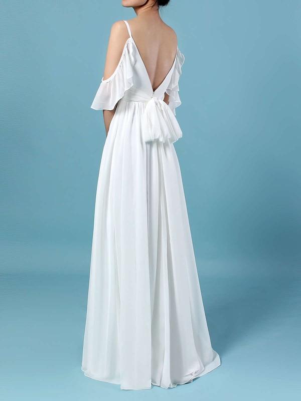 Chiffon V-neck A-line Sweep Train Sashes / Ribbons Wedding Dresses #LDB00023303