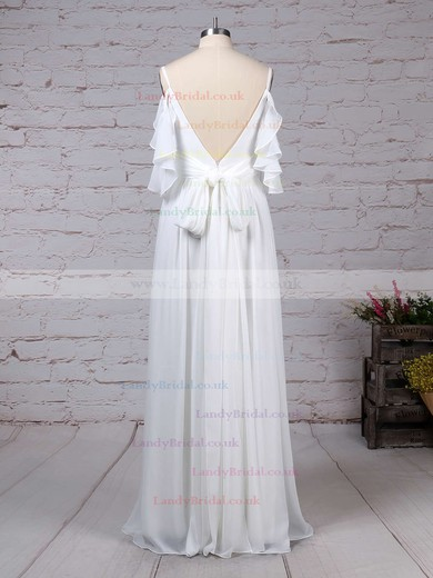Chiffon V-neck A-line Sweep Train Sashes / Ribbons Wedding Dresses #LDB00023303