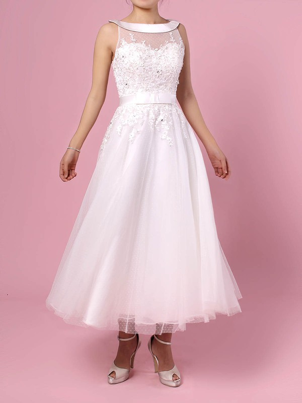 Tulle Scoop Neck Ball Gown Tea-length Beading Wedding Dresses #LDB00023272