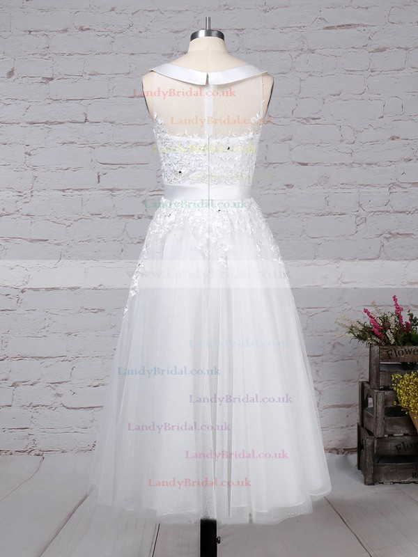 Tulle Scoop Neck Ball Gown Tea-length Beading Wedding Dresses #LDB00023272