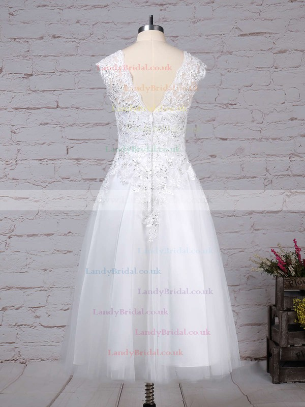Tulle Scoop Neck Ball Gown Tea-length Beading Wedding Dresses #LDB00023274