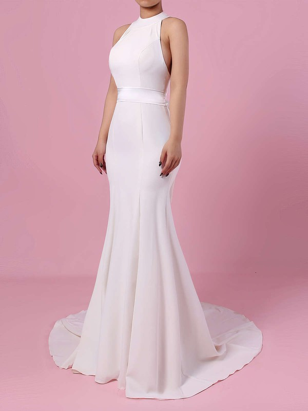 Satin Chiffon High Neck Trumpet/Mermaid Sweep Train Sashes / Ribbons Wedding Dresses #LDB00023275
