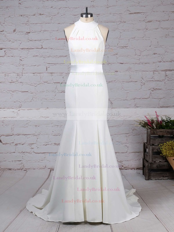 Satin Chiffon High Neck Trumpet/Mermaid Sweep Train Sashes / Ribbons Wedding Dresses #LDB00023275