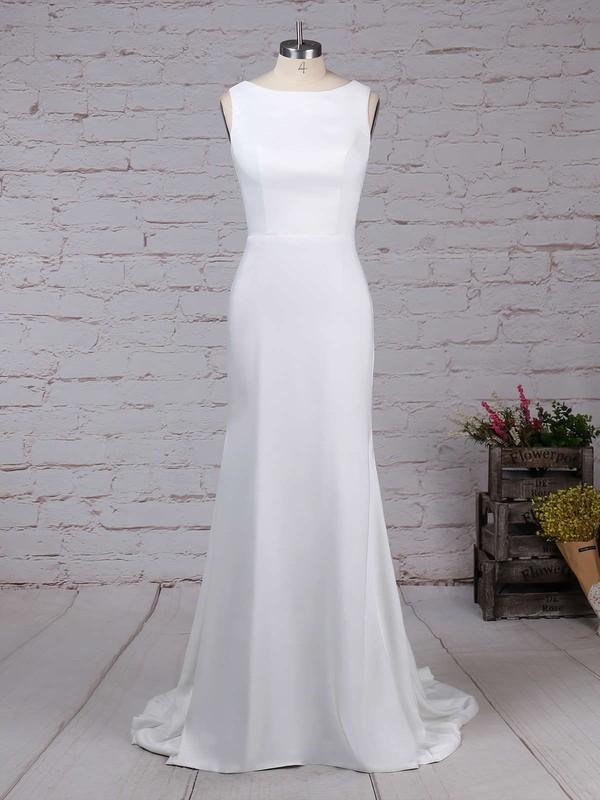 Satin Chiffon Scoop Neck Sheath/Column Sweep Train Wedding Dresses #LDB00023276