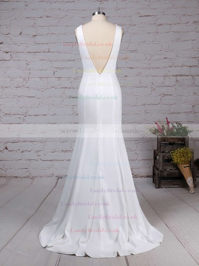 Satin Chiffon Scoop Neck Sheath/Column Sweep Train Wedding Dresses #LDB00023276