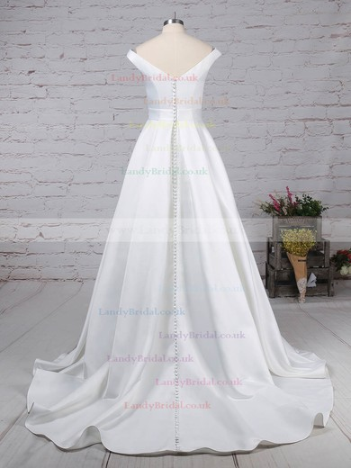 Satin Off-the-shoulder Ball Gown Sweep Train Sashes / Ribbons Wedding Dresses #LDB00023169