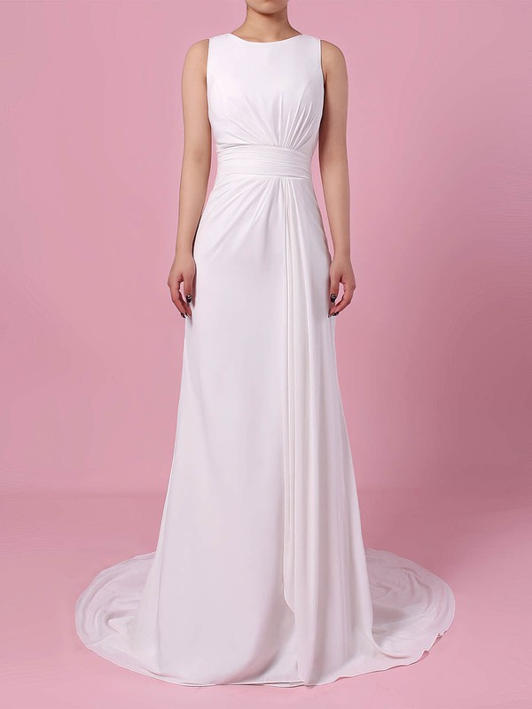 Lace Satin Chiffon Scoop Neck Sheath/Column Sweep Train Appliques Lace Wedding Dresses #LDB00023257